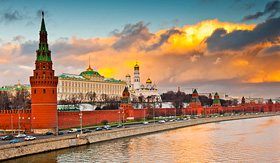 Russia Cruises Kremlin Palace and Wall in Moscow, Russia
