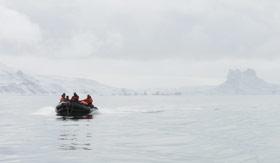 A zodiac in Antarctica
