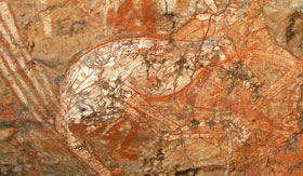 Aboriginal Artwork on side of Cave in Darwin
