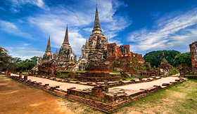 Seabourn ancient pagoda at Wat Phra Sri Sanphet Temple Ayutthaya Thailand