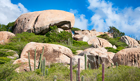 Seabourn Ayo Rock formation landmark on Aruba caribbean