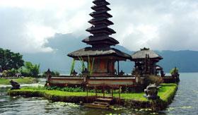 Temple in Lake Bratan in Bali