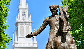 Seabourn Paul Revere statue and old North Church in Boston Massachusetts