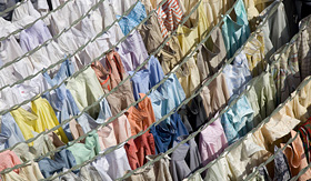 Seabourn shirts hanging to dry at Dhobi Ghats central laundry