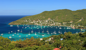 Seabourn tropical bay on Bequia Island St Vincent in the caribbean