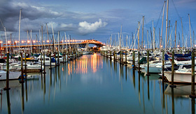 Silversea Cruises Auckland Harbor Bridge from Westhaven Marina Auckland New Zealand