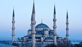 Silversea Cruises Blue Mosque at dusk