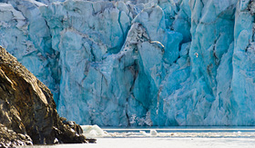 Silversea Cruises glacier in the Arctic Circle in Hornsund, Svalbard, Norway