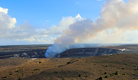 Silversea Cruises Kilauea Caldera with smoking Halemaumau Crater Volcanoes National Park big island Hawaii