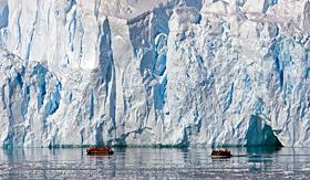 Silversea Cruises zodiac tour near glacier in Paradise Bay, Antarctica
