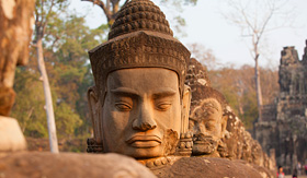 Uniworld River Cruises statues in Angkor Thom, Cambodia