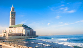 White mosque in Casablanca overlooking ocean