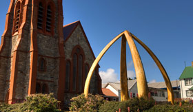 Arch made out of Whale Bones in Port Stanley - Viking Oceans