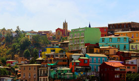Overview Picture of Colorful Houses in Valparaiso - Viking Oceans