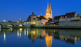 Viking River Cruises Regensburg Cathedral and Stone Bridge in Regensburg, Germany