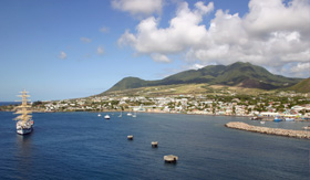 Windstar Cruises view of the port of Basseterre in St. Kitts West Indies