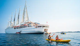Windstar Cruises Watersports Platform with Kayaks
