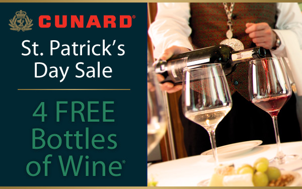 Cunard Sale: 4 FREE Bottles of Wine*