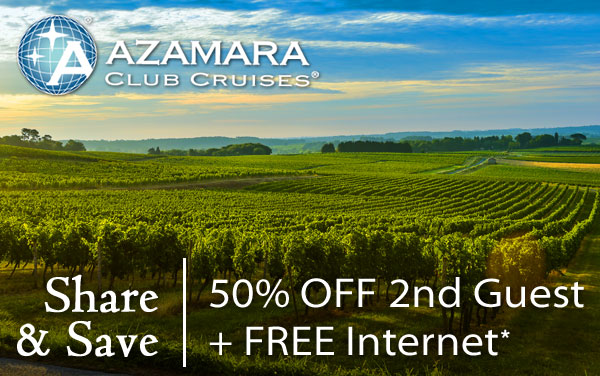 Azamara: 50% OFF 2nd Guest and FREE WiFi*