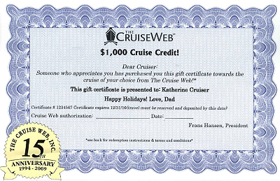 The Cruise Web Launches Gift Certificate Program | The Cruise Web Blog