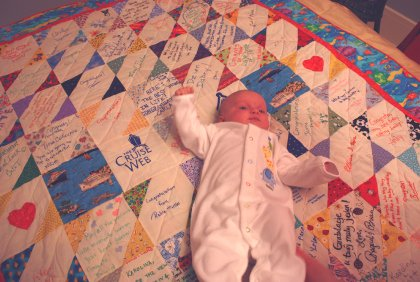 Baby Sophie on her Cruise Web quilt