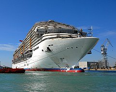 """Carnival Magic being """"floated out"""""""
