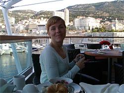 Karolina enjoying breakfast on deck