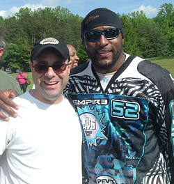 Adam Wolf with Ray Lewis at the Celebrity Paintball Tournament