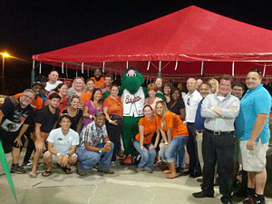 The Cruise Web team poses with Louie the Bowie Baysox's mascot