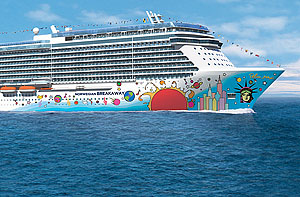 Rendering of Norwegian Breakaway's hull with artwork from Peter Max, courtesy of Norwegian Cruise Line