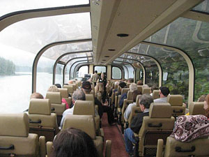 The glass-domed train through the Alaskan wilderness