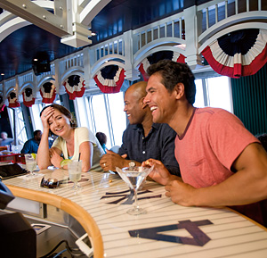Enjoying a drink on a Carnival Cruise