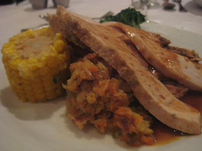 Thanksgiving dinner with all the fixings on a Bahamas cruise