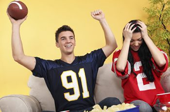 Football fans watching the big game.