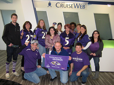 The Cruise Web team shows its Purple Pride - Go Ravens!