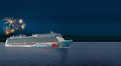 Photo rendering of fireworks on the Norwegian Breakaway - Photo courtesy of Nowergian Cruise Line