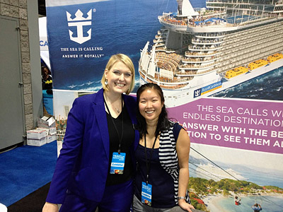 Royal Caribbean Representative Laura Schwerzler and Cruise Consultant Heather Wasson attend the Adventure & Travel Show