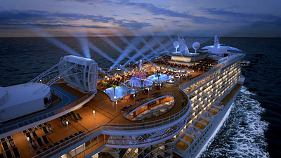Royal Princess Top Deck at Night photo rendering courtesy of Princess Cruises