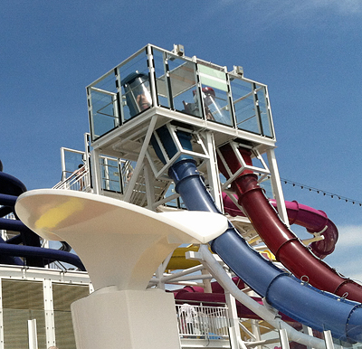 The two free-fall drop water slides on the Norwegian Breakaway