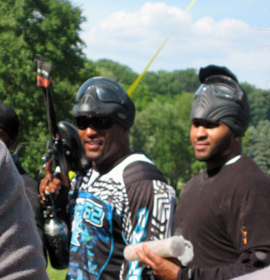 Ray Lewis dressed in his paintball gear