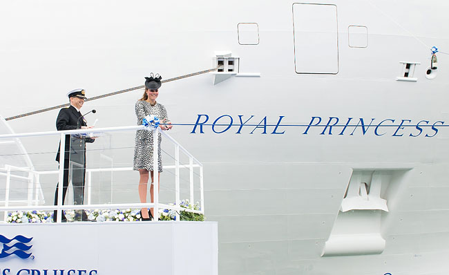 HRH Catherine Duchess of Cambridge (a.k.a. Kate Middleton) christens the Royal Princess - Photo courtesy of Princess Cruises