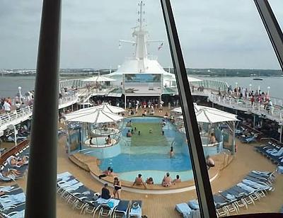 Pool deck with movie screen on the Grandeur of the Seas