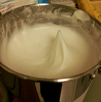 Your egg and sugar mixture needs to be able to maintain a peak like this.