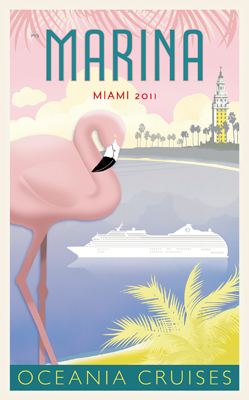 Retro poster of the Oceania Marina