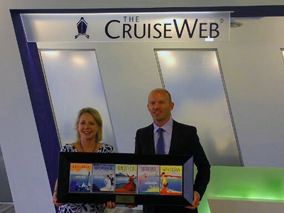 Oceania Tina White, regional sales director for Oceania, presents the Cruise Connoisseur Club award to Cruise Web President Frans Hansen.