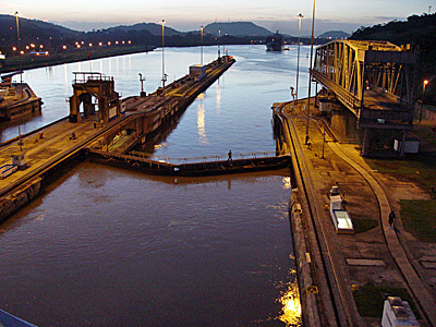 The Panama Canal at night, taken in 2004