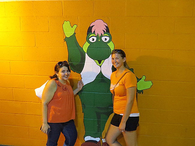 Posing with the Baysox mascot Louie.