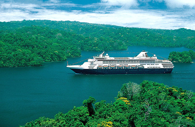 ms Veendam sails in the Panama Canal. Photo courtesy of Holland America Line.