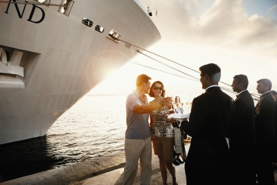 A champagne welcome. Photo courtesy of Silversea Cruises.
