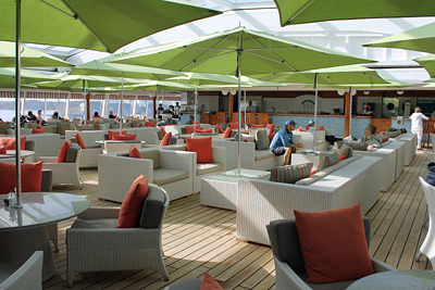 The light decor of the covered sun deck (with retractable roof) on the Crystal Symphony